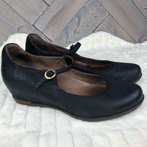 Dansko Loralie Black Leather Mary Jane Wedge  S 41